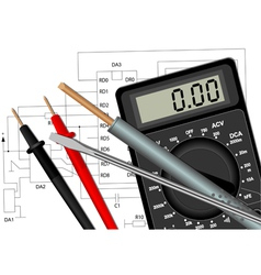 Soldering iron screwdriver and multimeter vector image