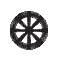 wheel tool antique round draw pictogram vector image