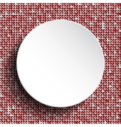 White circle button on red sequin background vector