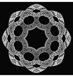 White zentangle style round pattern on black vector