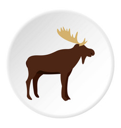 Wild elk icon circle vector