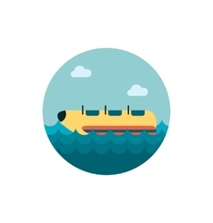 Yellow banana boat ride icon Summer Vacation vector image vector image