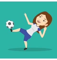 Soccer player kicking ball vector
