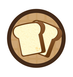 circular wooden border with slice of bread vector image
