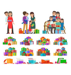 Set of people giving present boxes and gifts vector