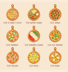 set of italian pizza on wooden boards vector image