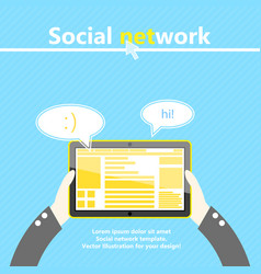 Social network tablet computer in hand flat vector