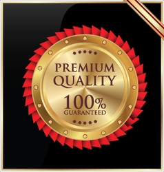 Premium quality golen label vector