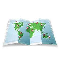 Travel world map with gps pins vector
