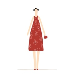 Beautiful woman in red dress for your design vector image
