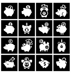 Piggy bank set white icons on black squares vector