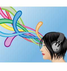 headphone girl vector image