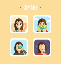 Set of summer holidays flat design sunbathe map vector