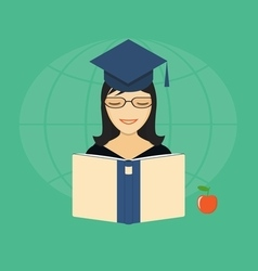 Flat elements of education with girl vector