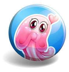 Pink creature on round badge vector
