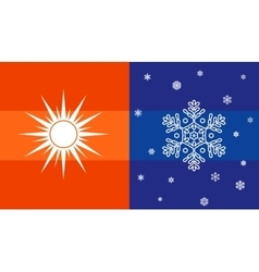 Sun and snowflake climate symbol vector
