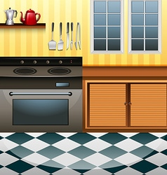 Kitchen with microwave and counter vector image