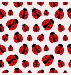Seamless pattern with bright closeup ladybugs vector
