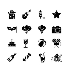 Party holidays and birthday black icons vector