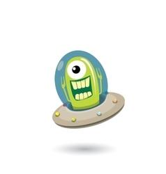 Ufo green alien  flying saucer vector