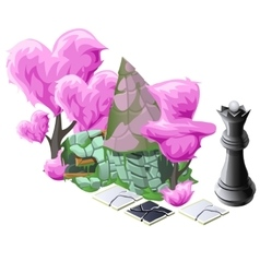 Scenery with pink topiary trees chess and house vector