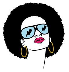 afro with glasses thunder vector image vector image