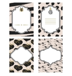 Birthday card black and white template set Gold vector image vector image