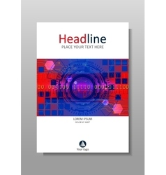 Blue red cover design with hud and futuristic vector