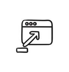Browser window with upload sign sketch icon vector