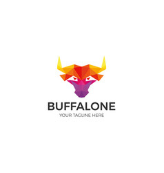 buffalo colorful polygon logo template vector image