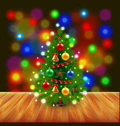 Christmas tree on wooden table vector image vector image