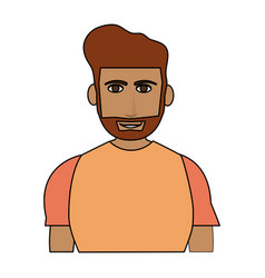 Color image cartoon half body guy with atlethic vector