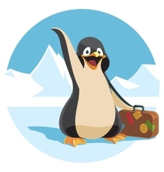 cute cartoon penguin holding a suitcase vector image vector image