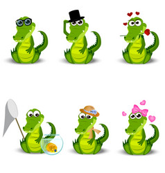 Cute crocodile or alligator vector