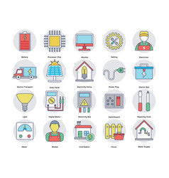 Flat icons set of home and services vector