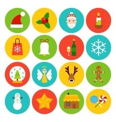 Flat Winter Christmas Icons vector image vector image
