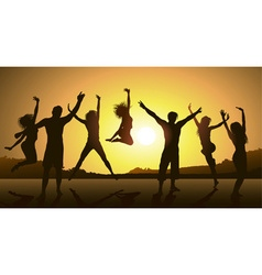 Friends jumping during a sunset vector