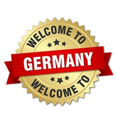 Germany 3d gold badge with red ribbon vector