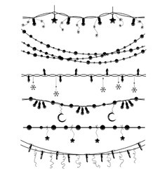 Hand drawn christmas garlands vector image vector image