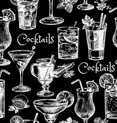Hand drawn sketch cocktails seamless pattern vector