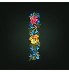 I letter flower capital alphabet colorful font vector