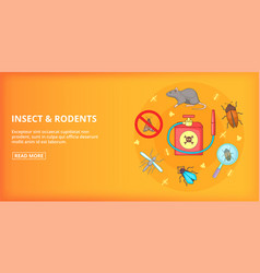 Insect rodents banner horizontal cartoon style vector
