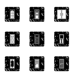Interior doors icons set grunge style vector