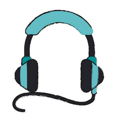 Isolated headphones with cord icon imag vector