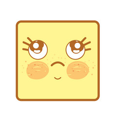 Kawaii thinking face with eyes and cheeks vector