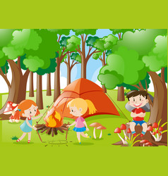 Kids camping out in the woods vector