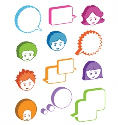kids with speech bubbles vector image vector image