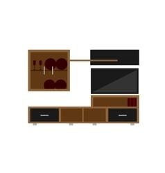 Living room set on white background flat vector
