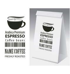 paper packaging with label for coffee bean vector image