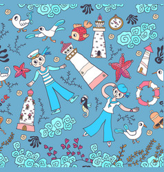 Pattern in the marine style children background vector